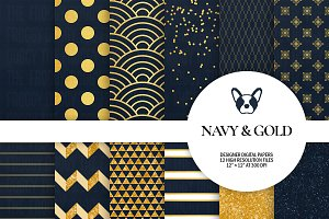 Navy & Gold Digital Papers