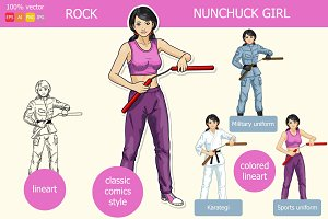 Asian girl armed with nunchuck
