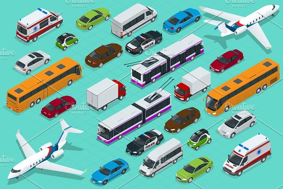Isometric City Transport With Front And Rear Views Trolley Plane Sedan Van Cargo Truck Off-road Bike Mini And Sport Cars Urban Public And Freight Vehihle