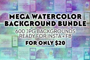 Mega Watercolor Background Bundle