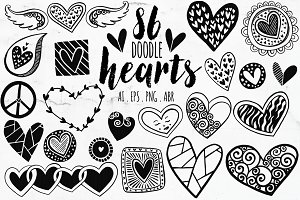 Vector Heart PNG Doodle ClipArt