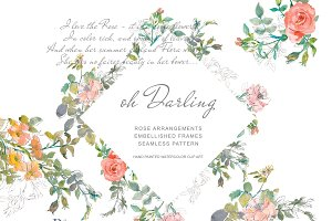 Watercolor Sketch Florals Clipart
