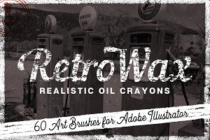 60 Retro Oil & Wax Crayon Brushes