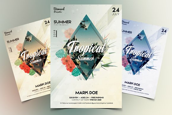 tropical summer psd flyer flyer templates creative market