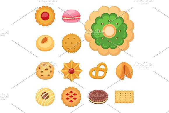 Different Cookie Cakes Top View Sweet Food Tasty Snack Biscuit Sweet Dessert Vector Illustration