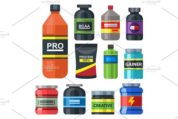 Bodybuilders Gym Athlete Sport Food Diet Symbols Fitness Nutrition Protein Powder Drink Vector Illustration