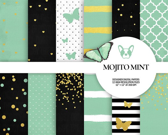 Mint Gold Digital Papers