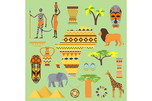 African vector symbols travel safari icon element set. African animals and people ethnic art south ancient design. Wildlife mask ancient african pattern, house, man and woman