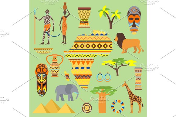 African Vector Symbols Travel Safari Icon Element Set African Animals And People Ethnic Art South Ancient Design Wildlife Mask Ancient African Pattern House Man And Woman