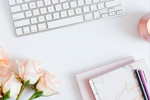 Feminine Girly Desk Stock Photo