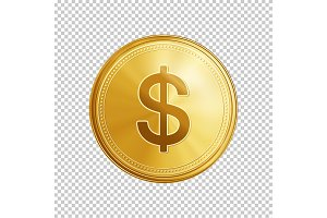 Golden dollar coin symbol.