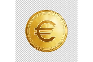 Golden euro coin symbol.