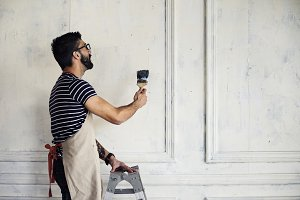 Man renovating the house