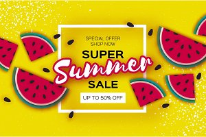 Watermelon Super Summer Sale Banner in paper cut style. Origami juicy ripe watermelon slices. Healthy food on yellow. Summertime. Square frame for text.