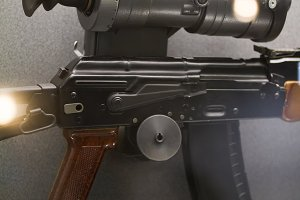 Soviet Russian weapon - automatic rifle with night vision sight
