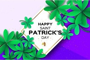 Happy St. Patricks Day Greetings Card. Four and Three Leaf Clover in paper cut style. Space for Text. Floral green background. Nature. Seasonal holidays