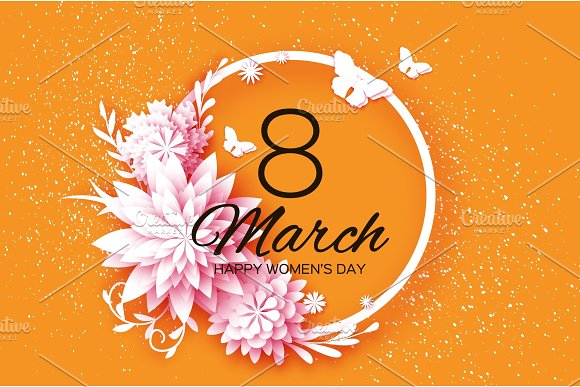 White Paper Cut Flower Fly Butterfly 8 March Womens Day Greetings Card Origami Floral Bouquet Circle Frame Text Spring Seasonal Holidays On Orange Happy Mothers Day