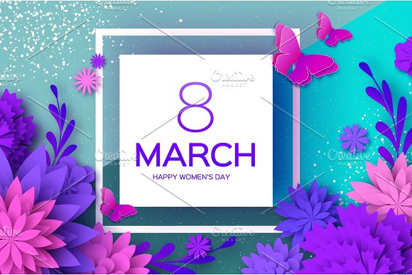 Ultra Violet Pink Paper Cut Flower Butterfly 8 March Womens Day Greetings Card Origami Floral Bouquet Square Frame Text Spring Seasonal Holidays On Blue Happy Mothers Day