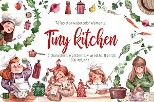 Tiny Kitchen - Watercolor Clip Art