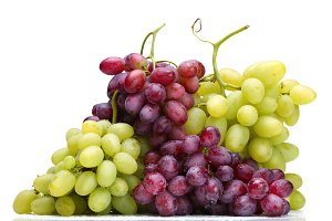 fresh green and rose grapes