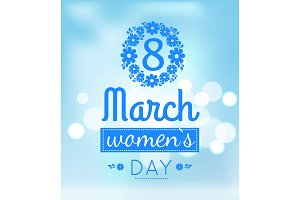 Womens Day March Eight Greeting Card Design Vector