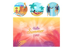 Hello Summer Time Poster Set Vector Illustration