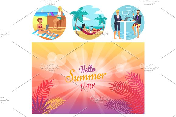 Hello Summer Time Poster Set Vector Illustration