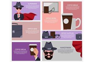 Coffee Break and Superman Set Vector Illustration
