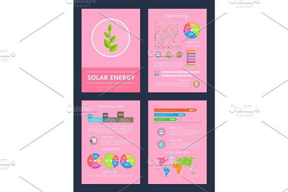 Solar And Clean Energy Set Vector Illustration
