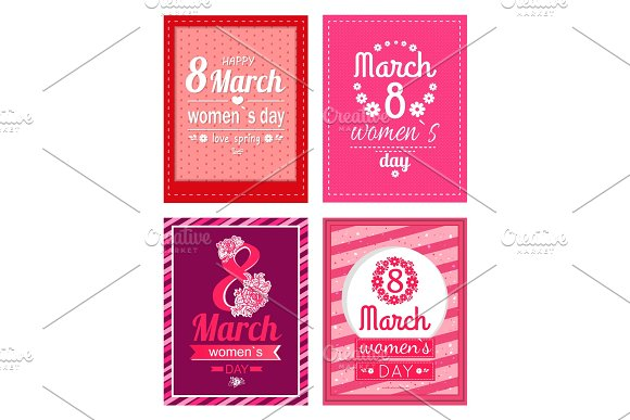 Set Of Poster With Congratulations On Women's Day