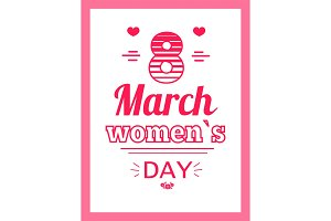 Womens Day Eight March Inscription, Greeting Card