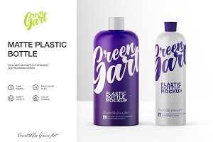 2 PSD Matte Plastic Bottle Mockup