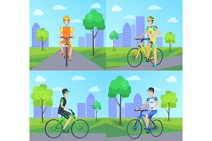 Cyclists with Smile Riding Vector Illustration