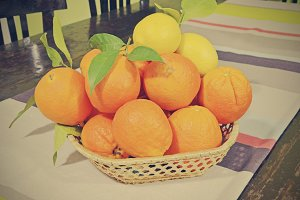 center table with oranges and lemons