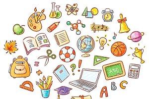 Doodle set of school things