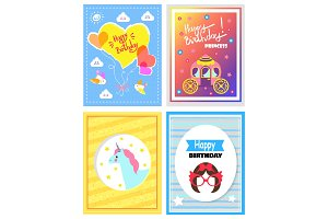 Set of Cute Festive Cards, Happy Birthday Princess