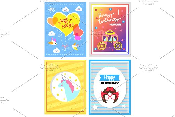 Set Of Cute Festive Cards Happy Birthday Princess