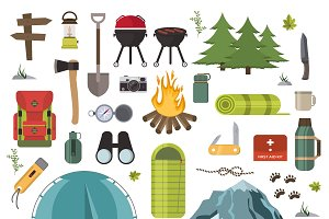 Hiking camping equipment vector