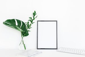 Photo frame, tropical leaves
