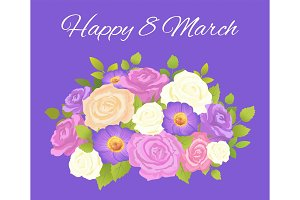 Happy 8 March Blue Placard Vector Illustration