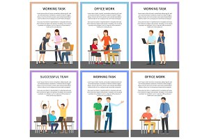 Working Task Successful Team Vector Illustration