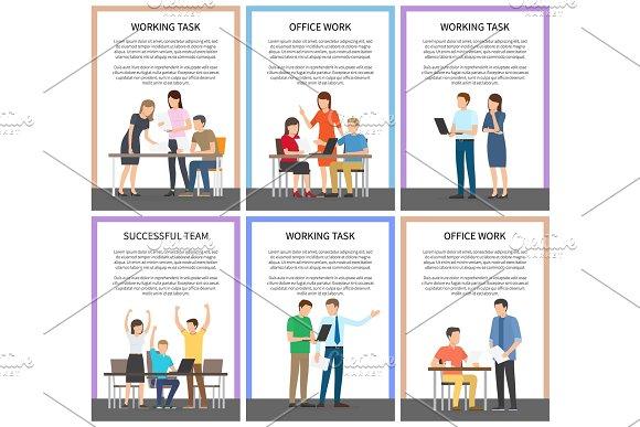 Working Task Successful Team Vector Illustration