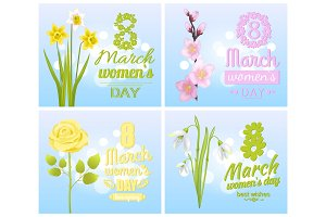 8 March Womens Day Greeting Cards Design Flowers