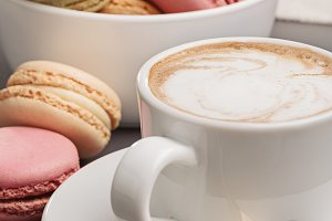 Cappuccino and french macaroons.