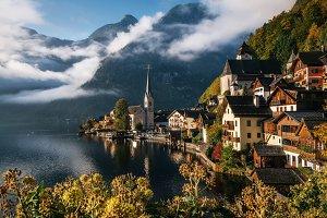 Scenic Hallstatt in autumn, Austria