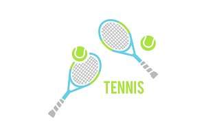 Tennis balls and tennis racquet, vector illustration.
