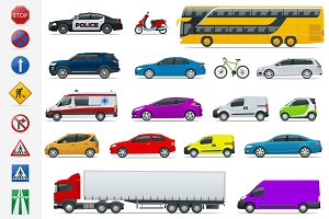 Flat high-quality city transport cars and road signs icon set. Side view sedan, van, cargo truck, off-road, bus, scooter, motorbike. Urban public, freight transport for infographics and design