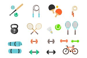 Fitness and Sport vector icons for web and mobile. Healthy lifestyle tools, elements.
