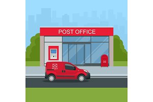 Building of post office and post car. Correspondence isolated vector illustration