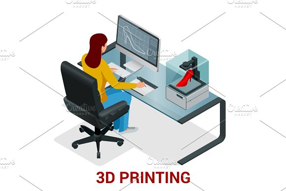 Young Woman Or School Girl Print 3D Model On 3D Printer Development And Printing Of Clothing Vector Isometric Illustration